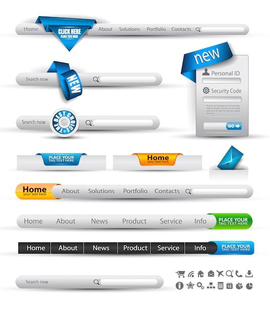 Satz von suchbanner und web-header Premium Vektoren