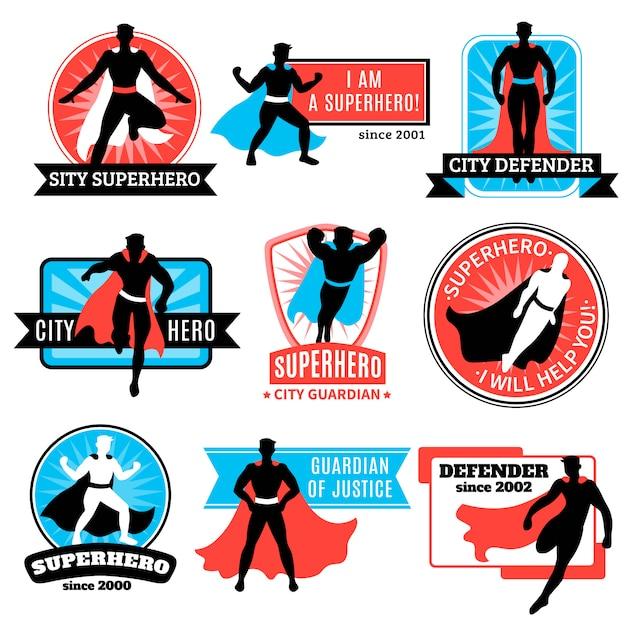 Satz von superheld-emblemen und aufklebern Kostenlosen Vektoren