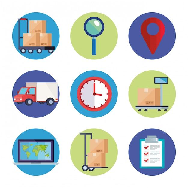 Satz von symbolen für den lieferlogistikdienst Premium Vektoren