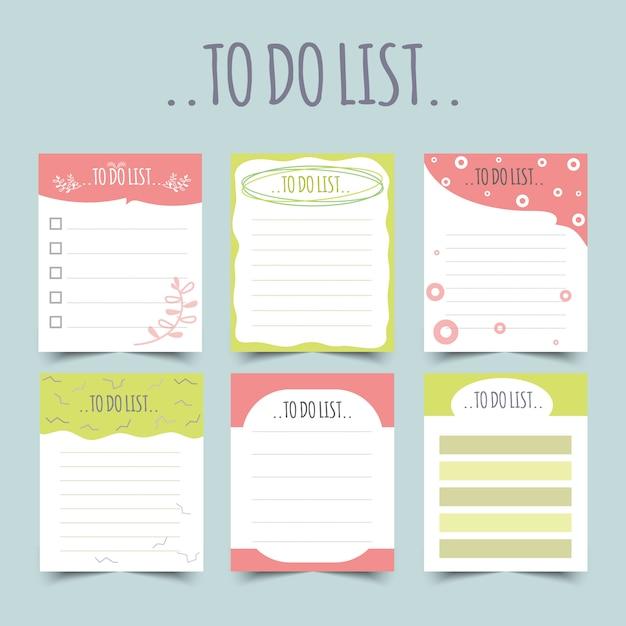 Satz von tagebuchplanern und aufgabenlisten.planern, checklisten. isoliert. illustration. Premium Vektoren
