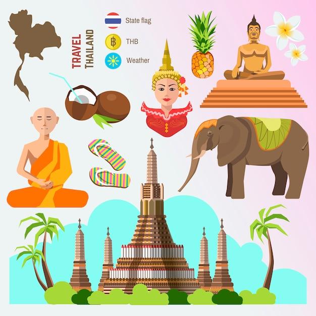 Satz von thailand-reisesymbolen. Premium Vektoren