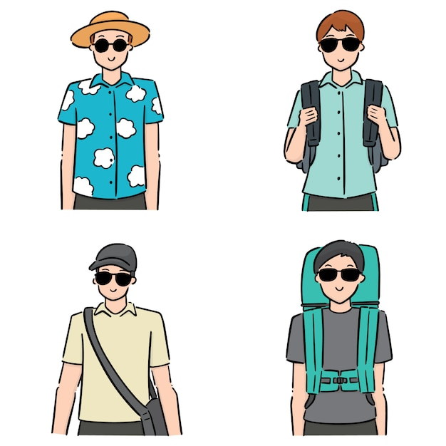 Satz von touristen Premium Vektoren