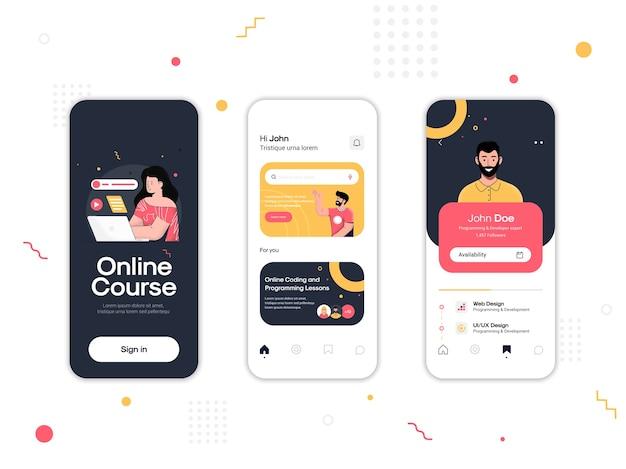 Satz von ui-, ux- und gui-bildschirmen online-kurs-app Premium Vektoren