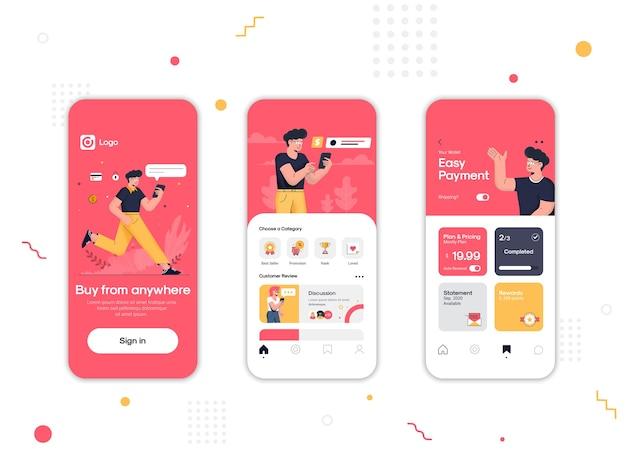 Satz von ui-, ux- und gui-bildschirmen online-shopping-app Premium Vektoren