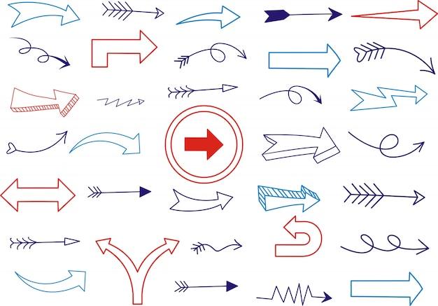 Satz von unterstrichen in verschiedenen formen doodle-stil Premium Vektoren