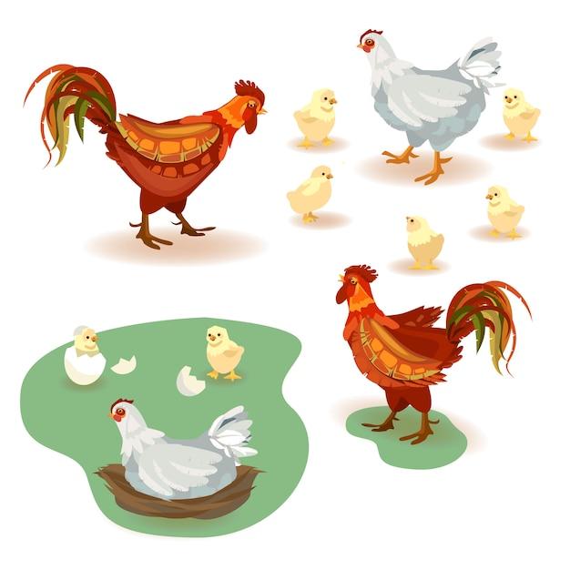 Satz von vektor-bildern hahn, huhn und viele kleine gelbe hühner Premium Vektoren