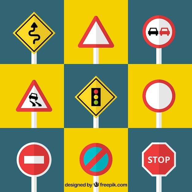Satz von Verkehrszeichen in flachem Design Kostenlose Vektoren