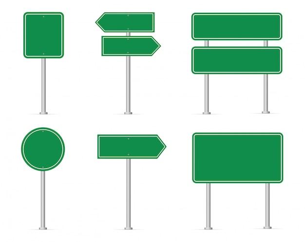 Satz von verkehrszeichen. leeres grünes verkehrsschild. Premium Vektoren
