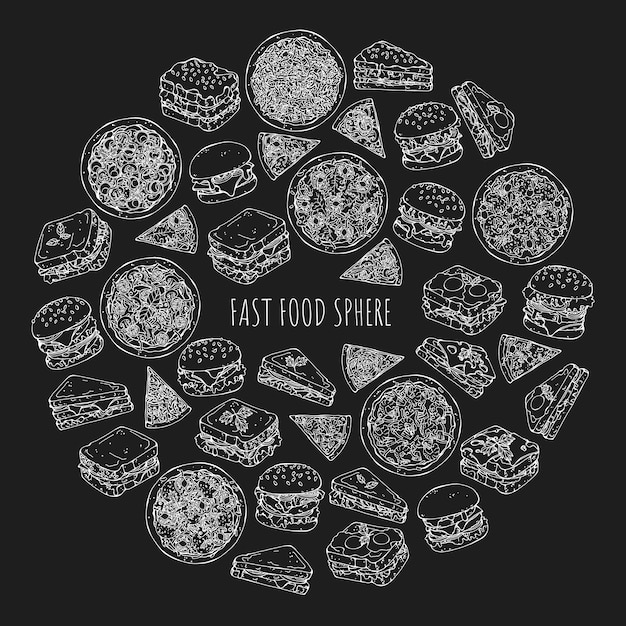 Satz von verschiedenen arten von burgern und fast food Premium Vektoren