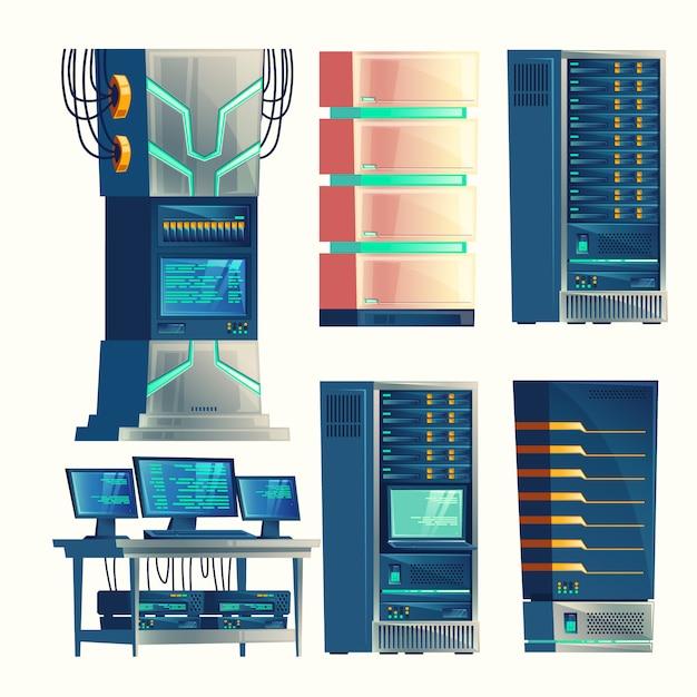 Satz von verschiedenen cartoon-kontrollraum, server-racks, datenbank, rechenzentrum. Kostenlosen Vektoren