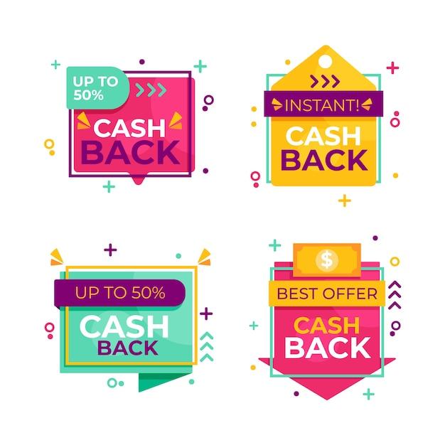 Satz von verschiedenen cashback-etiketten Kostenlosen Vektoren