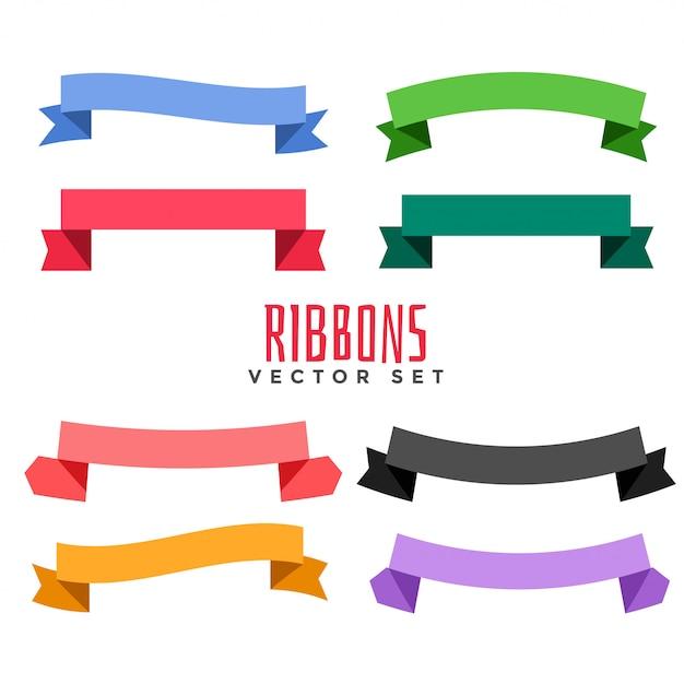Satz von verschiedenen farbflachbändern Kostenlosen Vektoren