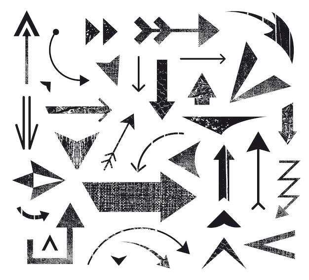 Satz von verschiedenen pfeilsymbolen, pfeile logos. verschiedene pfeile, richtungssymbole. schwarz und weiß, strukturiert Premium Vektoren