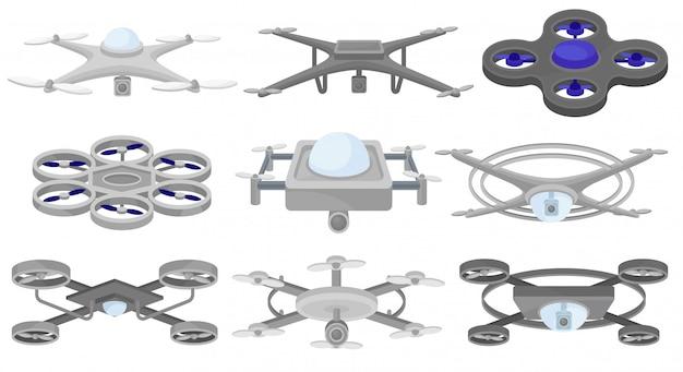 Satz von verschiedenen. unbemannte luftfahrzeuge. fliegende drohnen. moderne technologie Premium Vektoren