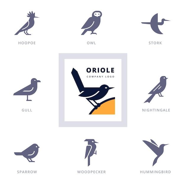 Satz von verschiedenen vogelikonen- und logo-gestaltungselementen für firma. sammlungsikonen mit vögeln. Premium Vektoren