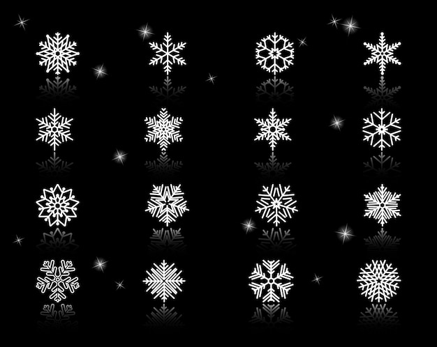Satz von verschiedenen weißen schneeflockensymbolen auf schwarzem hintergrund mit funken. Kostenlosen Vektoren