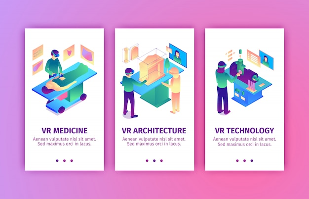 Satz von vertikalen bannern der isometrischen virtuellen realität mit bildern von leuten, die augmented reality zur industrievektorillustration bringen Kostenlosen Vektoren