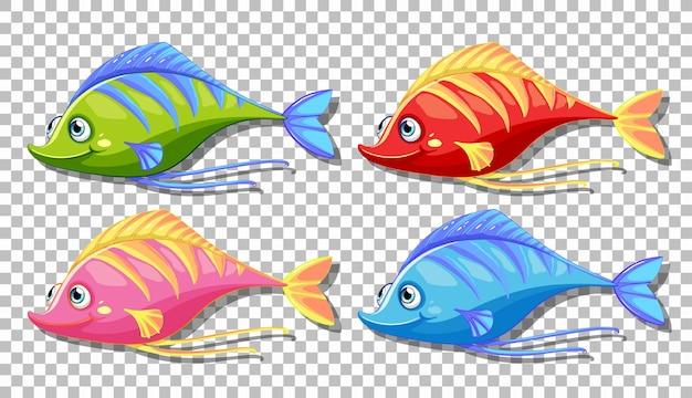 Satz von vielen lustigen fischkarikaturcharakter lokalisiert auf transparentem hintergrund Kostenlosen Vektoren