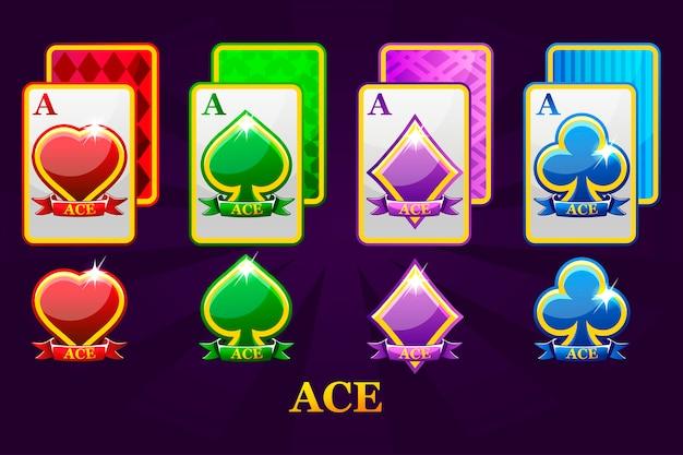 Satz von vier assen spielkarten passt für poker und casino. satz herzen, pik, keulen und diamanten ass. Premium Vektoren