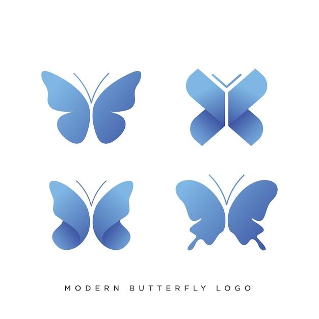 Satz von vier modernen schmetterling logo Premium Vektoren