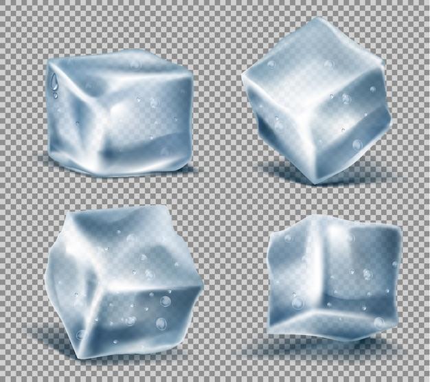 Satz von vier realistischen blauen eiswürfeln mit wassertropfen, kalten, gefrorenen blöcken Kostenlosen Vektoren