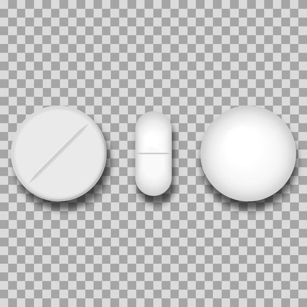 Satz von vier realistischen weißen pillen des unterschiedlichen vektors Premium Vektoren