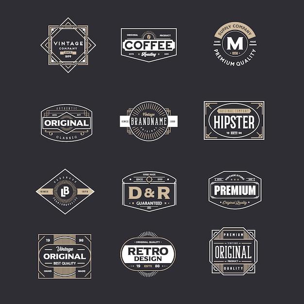 Satz von vintage abzeichen Premium Vektoren