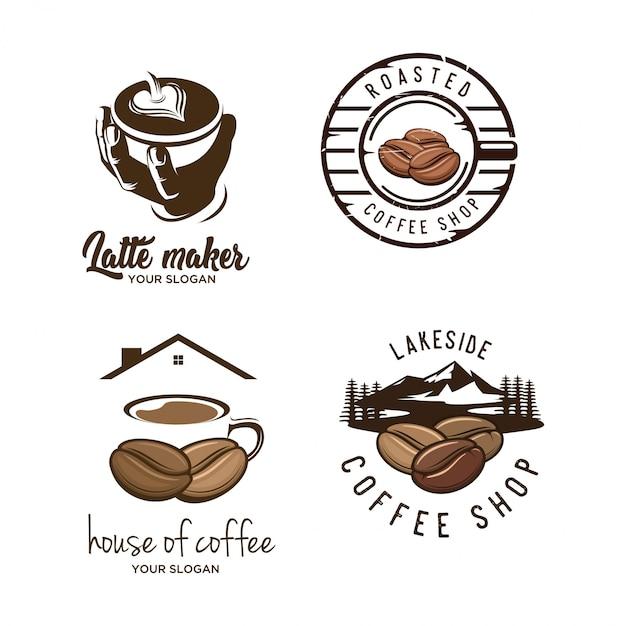 Satz von vintage kaffee-logo Premium Vektoren