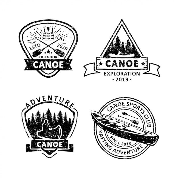 Satz von vintage-kanu abzeichen etiketten, embleme und logo Premium Vektoren