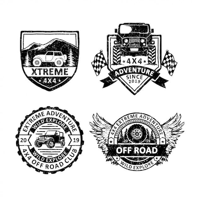 Satz von vintage offroad abzeichen etiketten, embleme und logo Premium Vektoren