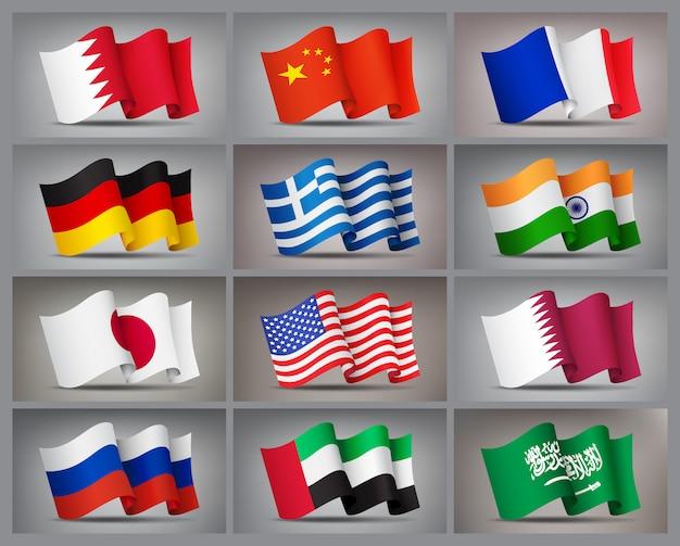 Satz von wehenden flaggenikonen lokalisierte, offizielle symbole der länder. Premium Vektoren