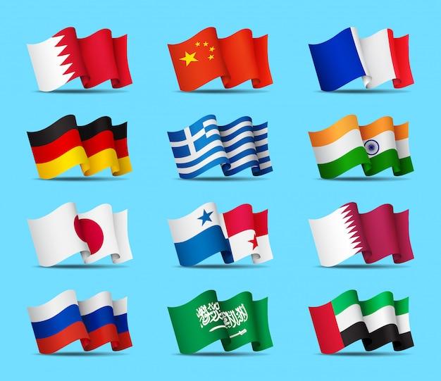 Satz von wehenden flaggenikonen, offizielle symbole der länder, illustration. Premium Vektoren