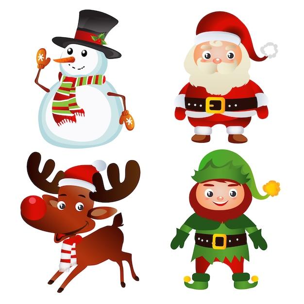 Comic Bilder Weihnachten Kostenlos.Satz Von Weihnachten Comic Figuren Download Der Premium Vektor