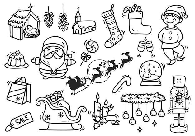 Satz Von Weihnachten Doodle Element Premium Vektor