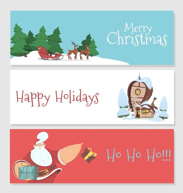 Satz von weihnachten und neujahr banner Premium Vektoren