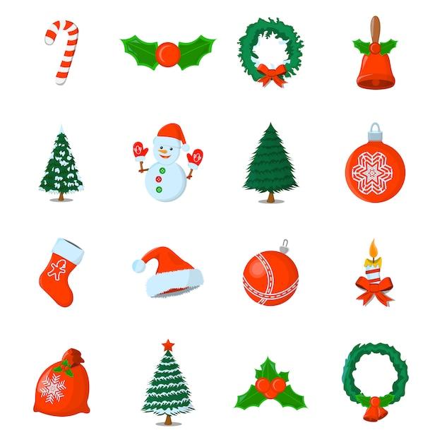 Satz von xmas isolated-symbol. cartoon-stil. vektorabbildung für weihnachtstag. Premium Vektoren