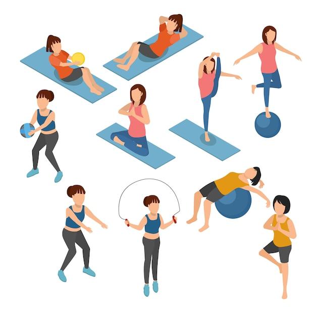 Satz von yoga und gymnastik auf isometrischer illustration Premium Vektoren