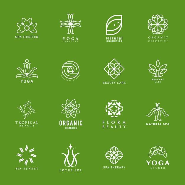 Satz von yoga und spa-logo Kostenlosen Vektoren