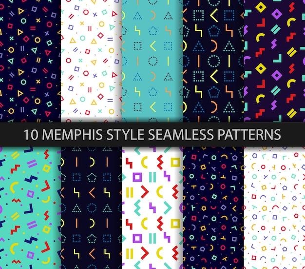 Satz von zehn geometrischen texturen. nahtloses muster von memphis. Premium Vektoren