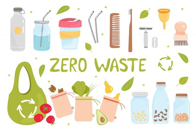 Satz von zero waste-elementen Premium Vektoren