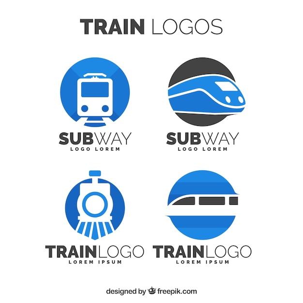 Satz von zug logos Kostenlosen Vektoren