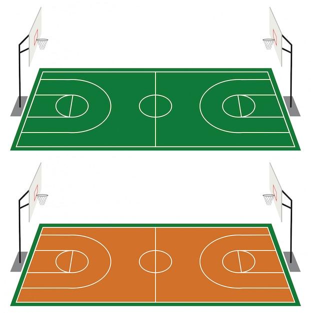 Satz von zwei basketballplätzen Kostenlosen Vektoren