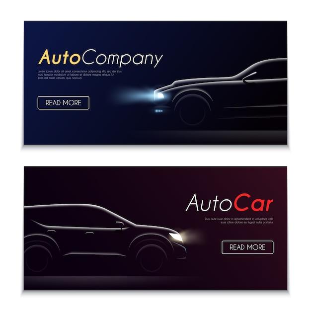 Satz von zwei dunklen bannern des horizontalen realistischen autoprofils mit klickbaren schaltflächen bearbeitbaren text und vektorillustration der automobilbilder Kostenlosen Vektoren