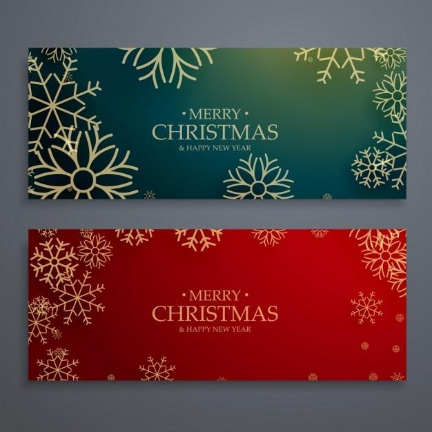 Satz von zwei fröhlich Vorlage Weihnachten Banner in roten und ...
