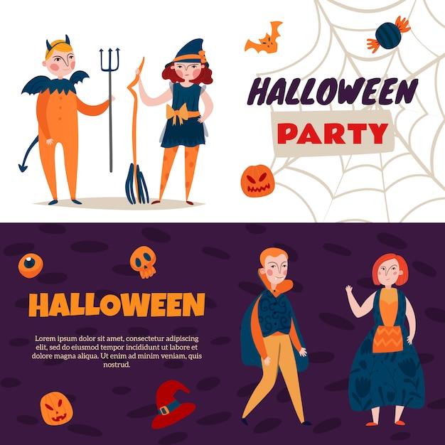 Satz von zwei halloween-bannern Kostenlosen Vektoren