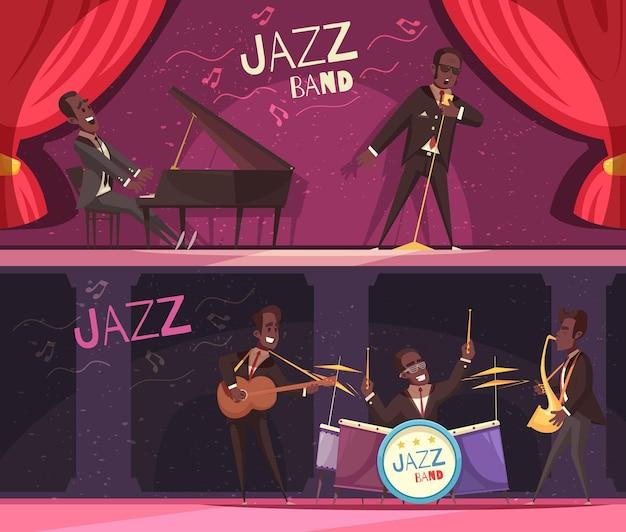 Satz von zwei horizontalen jazzfahnen mit ansicht des klassischen stadiums mit roten vorhängen und musikern Kostenlosen Vektoren