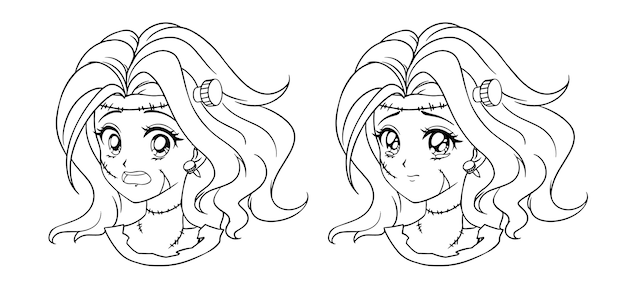 Satz von zwei niedlichen manga-zombie-mädchenporträt. zwei verschiedene ausdrücke. hand gezeichnete konturillustration des retro-anime-stils. schwarze strichgrafiken auf weißem hintergrund. Premium Vektoren