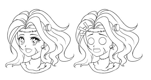 Satz von zwei niedlichen manga-zombie-mädchenporträt. zwei verschiedene ausdrücke. Premium Vektoren