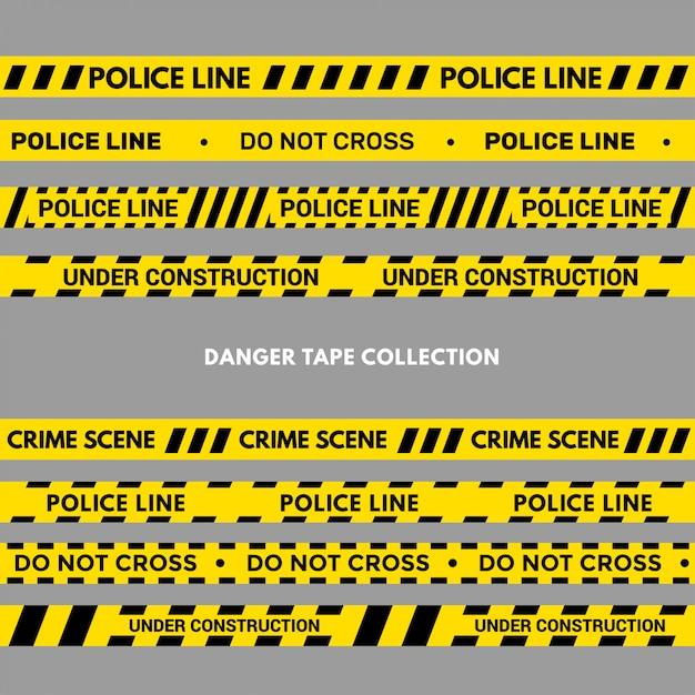 Satz warn- oder gefahrenbänder. schwarzer und gelber polizeistreifen Premium Vektoren