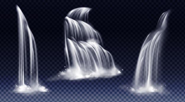 Satz wasserfälle mit kaskade, spritzwasser und nebel Kostenlosen Vektoren